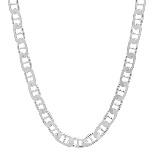 5.5mm Solid 925 Sterling Silver Flat Mariner Link Italian Chain, 20