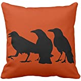 Ashasds Three Crow Halloween Orange Decorative Throw Pillow Covers with Zips Accent Pillows Case for Girls Family Children Size: 18x18 Inches Two Sides