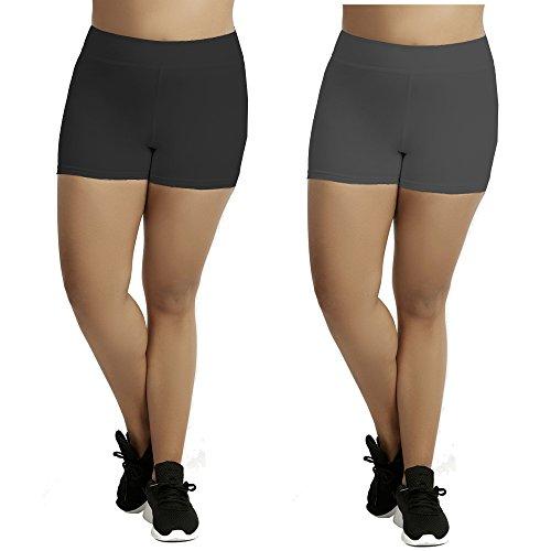 Women's Plus Size Cotton Spandex Boyshorts - 2 Pack - Black and Charcoal - 3X