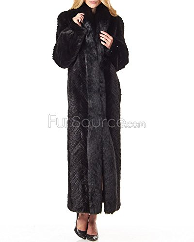 Frr Mink Full Length Coat With Fox Fur Tuxedo Collar In Black - (Mink Fox Fur Coat)
