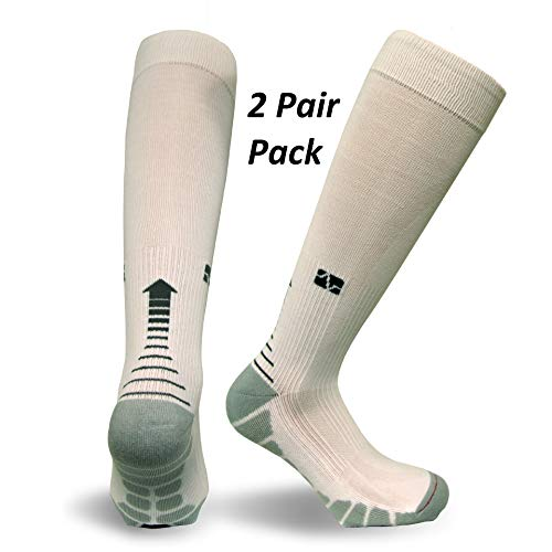 (Vitalsox Silver Drystat Graduated Compression Socks (2 Pack), White/White, Small)