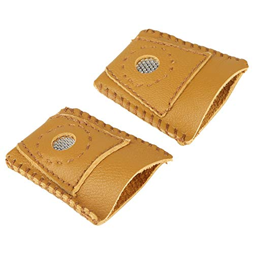 Delaman Thimble Finger Sets, 2pcs Large Size Leather Finger Protector Thumb, with Metal Tip Hand Needlework Accessory