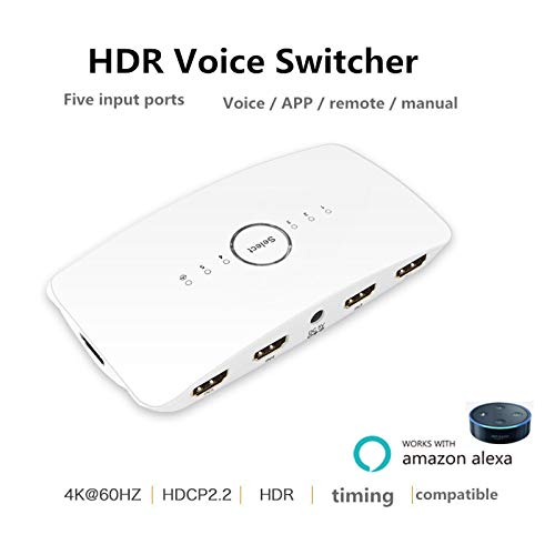 WiFi Smart Voice HDMI Switch 4K 5 Port 5x1 HDMI Switcher Splitter Box Support 4K@60HZ Ultra HD 3D Remote Control and Power Adapter for Amazon echo Compatible with Alexa, Wireless Cellphone APP Remote by Star Sound Source