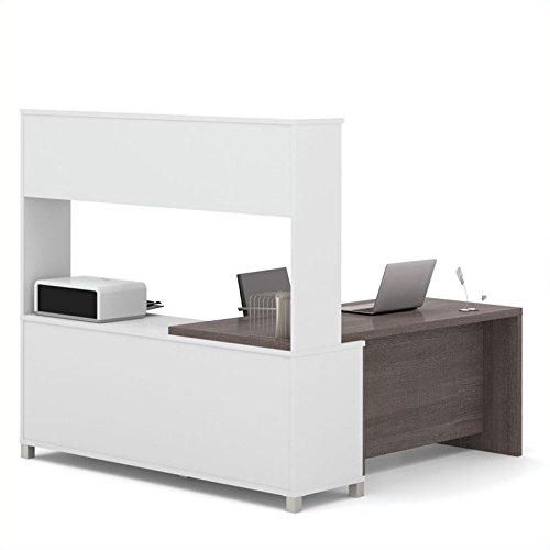 Bestar Pro-Linea L-Desk with Hutch, White/Bark Grey