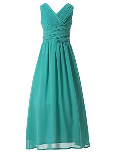 Happy Rose Flower Girl's Dress Party Dresses Juniors Long Bridesmaid Dress Turquoise 10 ()