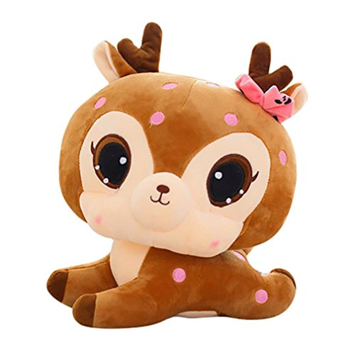 Gbell Adults Child Kids Fluffy Stuffed Plush Simulation Cute Deer Toys  Brown