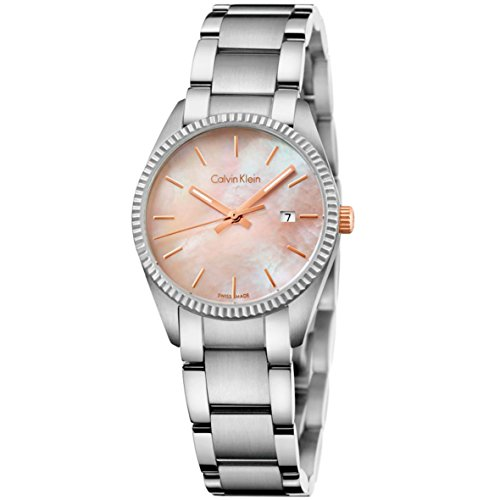Calvin Klein K5R33B4H Women's Silver Stainless Steel Watch with Mother of Pearl Pink Dial Face