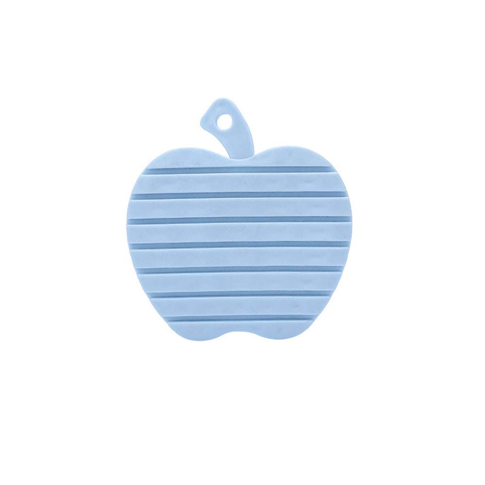 Yu2d  Multifunction Apple Shape Plastic Dish Wash Scrubber Cleaning Brush Mesktop Mat (Blue)