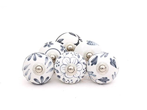 Set of 6 Assorted Vintage Grey and White Hand Painted Ceramic Round Knobs Cabinet Drawer Handles Pulls by The Metal Magician