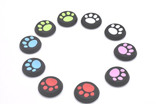 5 Pairs Replacement Cat Pad Style Silicone Analog Controller Joystick Thumb Stick Grip Cap Cover for PS4,PS3,Xbox 360,Xbox One Controller (Best Xbox 360 Style Controller For Ps3)