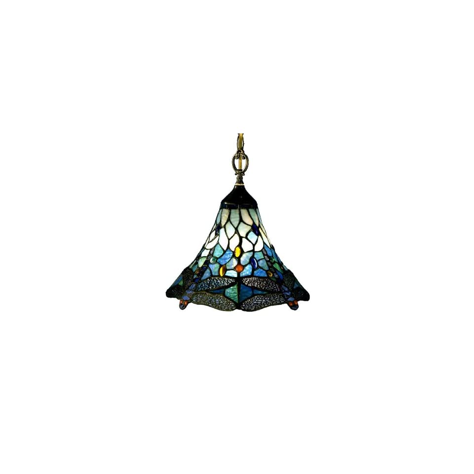 Dale Tiffany 8935/1LTA Dragonfly Light Fixture, Antique Brass and Art Glass Shade
