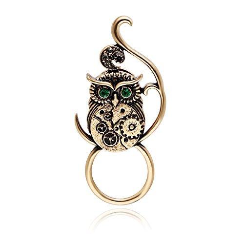 CHUANGYUN Antique Gold Green Eye Gear Belly Owl Punk Brooch Pins Strong Magnetic Eyeglass Holder