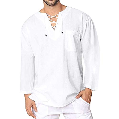 MODOQO Men's Big & Tall V-Neck Tee Vintage Linen Lace Solid Color Long Sleeve ()