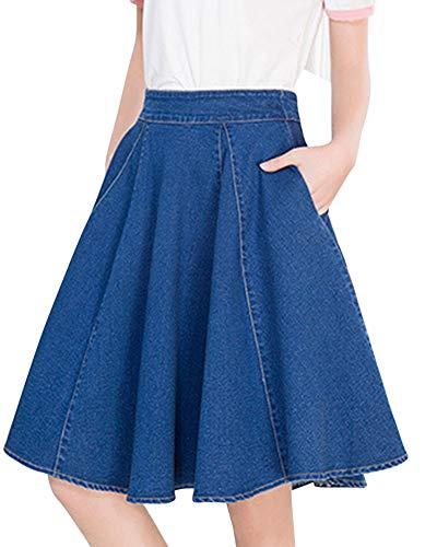 Jupe De Dames Mode Casual lgant Et Confortable Doublure De Scurit Sauvage Jupe De Mode Bleu