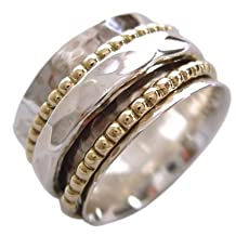 """Energy Stone """"CLARITY"""" Sterling Silver Spinning Meditation Ring Hammered Pattern Base Shank with 2 Beaded Brass and 1 Hammered Pattern Spinners (Sku# SR01)"""