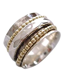 "Energy Stone ""CLARITY"" Sterling Silver Spinning Meditation Ring Hammered Pattern Base Shank with 2 Beaded Brass and 1 Hammered Pattern Spinners (Sku# SR01)"