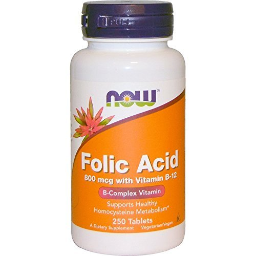 NOW Folic Acid 800mcg, 250 Tablets (Pack of 4)