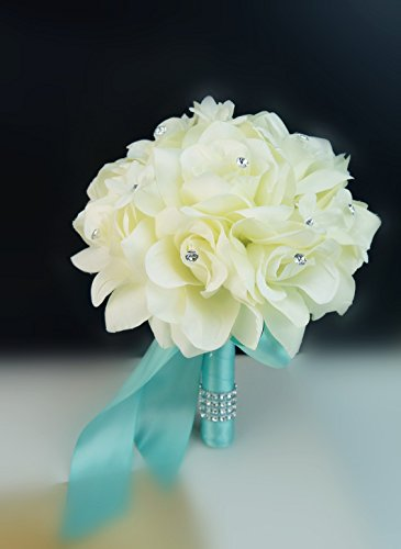 (Wedding Bouquet - 8'' Wide - Ivory Rose with Aqua Ribbon)