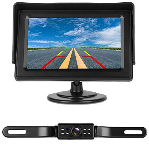 iStrong Backup Camera System 4.3'' Monitor for Truck/Car/Pickup/Camper/SUV IP68 Waterproof Rear View/Front View Camera Connecting Single Power Reversing/Driving Use Night Vision