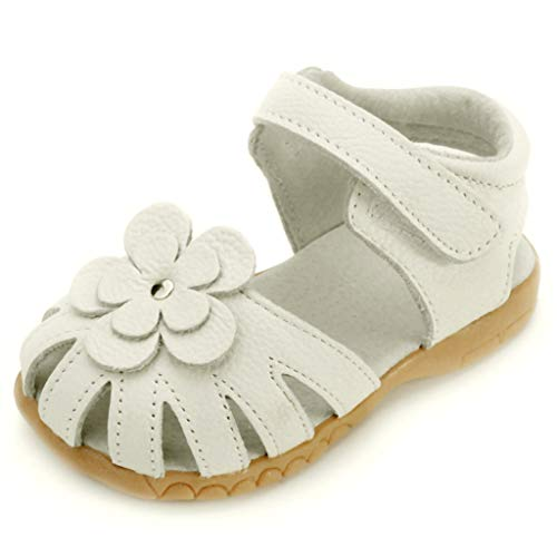 Girls Kids Leather Sandals Breathable Comfy Closed Toe Flower Summer Flat Sandals Shoes (US:10.5C, Beige)