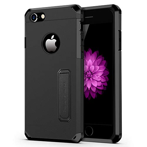 iPhone 7/8 Case, ImpactStrong Heavy Duty Dual Layer Protection Cover with Kickstand Heavy Duty Case for Apple iPhone 7/8 (K-Gun Black)
