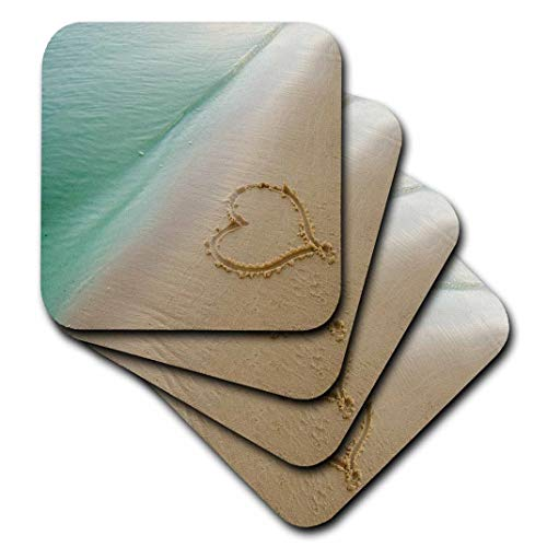 3dRose CST_173299_2 Heart Shape Symbolizing Love, Heart Carved in Sand on The Beach Soft Coasters, Set of 8 -