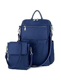 UTO Mujeres Dama Mochila Tela Oxford Impermeable Nylon Desmontable Bolsas Totes Bandolera Crossbody Azul