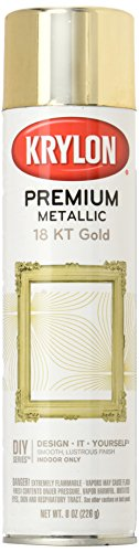 Krylon K01000A07 Premium Metallic Spray Paint, 18K Gold