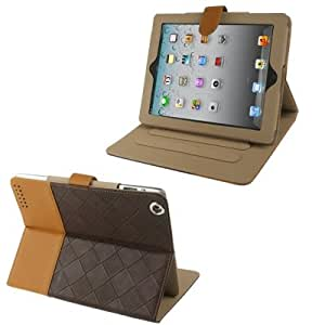 2-color Series Weave Texture Flip Leather Case with Holder for New iPad (iPad 3) / iPad 4 (Coffee+ Brown)