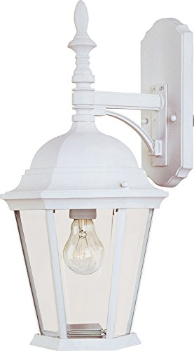 Cheap Maxim 1004WT Westlake Cast 1-Light Outdoor Wall Lantern, White Finish, Clear Glass, MB Incandescent Incandescent Bulb , 60W Max., Dry Safety Rating, Standard Dimmable, Glass Shade Material, Rated Lumens