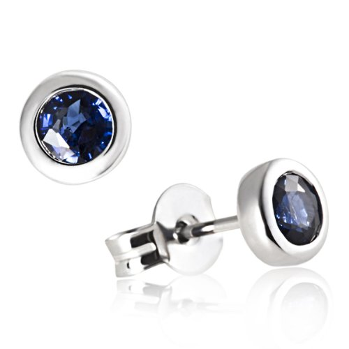 Goldmaid - Boucles d'oreilles clous - Or Blanc 9 Cts (1.3 gr) - Saphir bleu