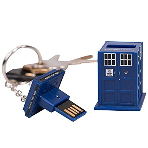 Doctor Who TARDIS 16GB USB Memory Stick Key Chain - with Blue LED Light… (Memory Stick Key)