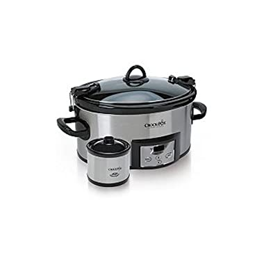 Crock Pot Quart Cook & Carry Slow Cooker with 16-Ounce Little Dipper Warmer - Stainless Steel, SCCPVL619-S 6-