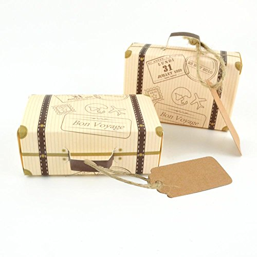 "Chocolate Theme Bridal Shower (LASLU 50pcs ""Travel Themed"" Suitcase Favor Boxes + 50pcs Tags, Vintage Kraft Favor Box Candy Gift bag for Travel Theme Party Wedding Birthday Bridal Showe (50pcs, Travel Themed))"