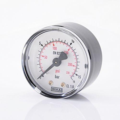 """50mm Waagerecht Manometer G 1/4"""" Außengewinde Anzeigebereich 0-16 bar"""