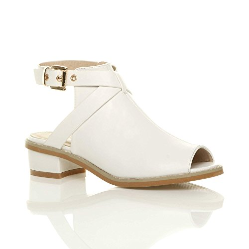 Ajvani Women Peep Size Back Heel Boots Ankle Open Low White Matte Toe Strap Sandals qqPwZdr