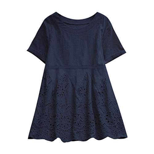 TUSANG Vintage Solid Floral Hollow Out Hem O-Neck Short SleeveTops Summer T Shirt Women Loose Fit Casual T-Shirt (Navy,US-4/CN-S) ()