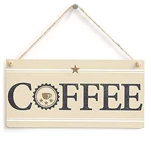 Café - hecho a mano elegante país para colgar cartel de ...