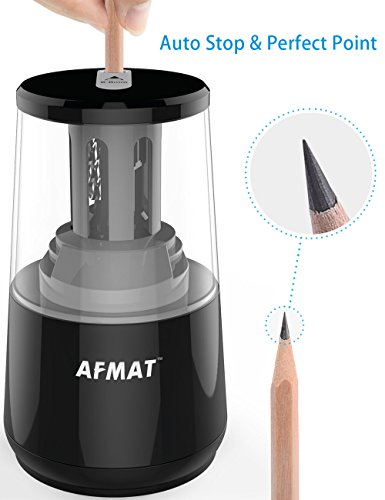 AFMAT Electric Pencil Sharpener, Heavy Duty Helical Blade Sharpeners, Auto Stop for Kids, School Home Office Classroom, AC or Battery Operated for NO. 2 and Colored Pencils (USB and Adapter Included) by AFMAT (Image #3)