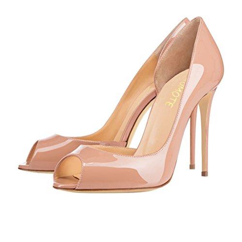 MERUMOTE Women's J-020 Sexy Side Notch Peep Toe Pumps Court Shoes High Heels UK 3-11 Nude teXSy0ABxq