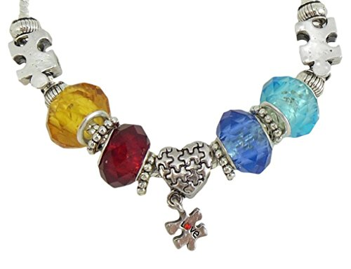 Charmed By Dragons Autism Awareness Necklace Puzzle Piece Beads Silver Chain Aspergers in Gift Box