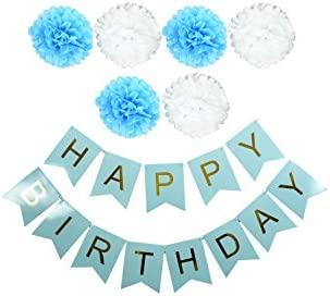 Decoración de cumpleaños guirnaldas y pompoms de feliz ...