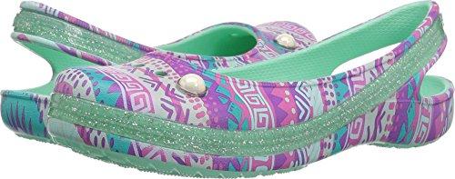 Sling Crocs (Crocs Girls' Genna II Graph Sparkle Sling K Ballet Flat, Mint, 11 M US Little Kid)
