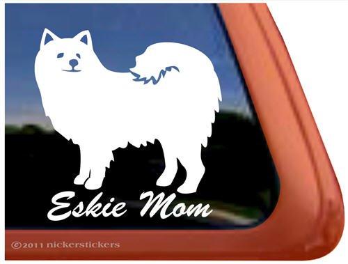 Eskie Mom American Eskimo Dog Vinyl Window Decal Sticker American Eskimo Dog Sticker