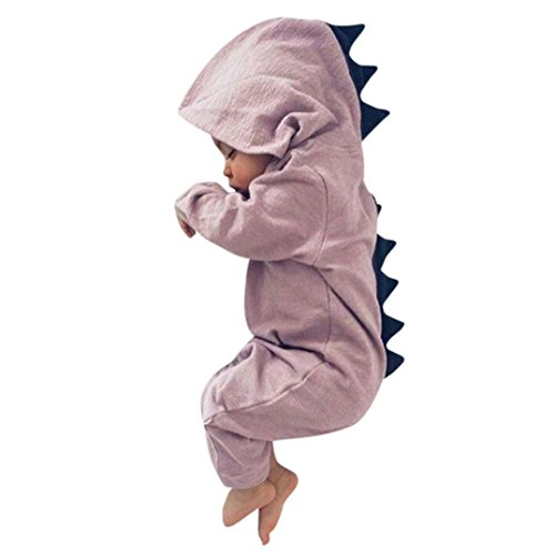 Newborn Infant Baby Boy Girl Dinosaur Hooded Romper Jumpsuit Outfits Clothes (18M, Pink) (Hello Kitty Wedding Dress)