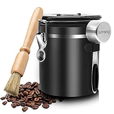 Coffee Container Airtight Stainless Steel Storage Canister with Built-in CO2 Valve, Measuring Scoop and Brush - Black