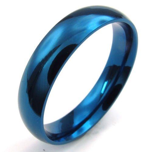 Aooaz Bijoux Bague pour Homme 316L Acier Inoxydable Bleu Ton Rond Ronde Bande 5mm