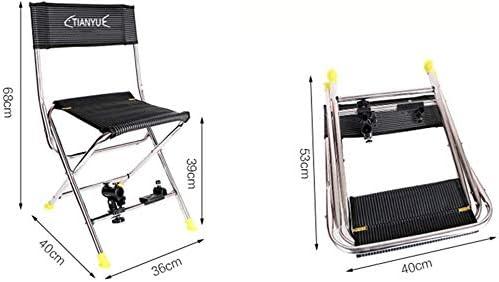 Chaise pliante pêche Pliante Portable Chaise Poisson de pêche en Acier Inoxydable Tabouret Cage Poisson Libre Debout LITING