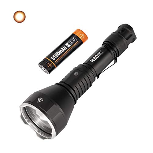 ACEBEAM W30 Tactical Flashlight - 2633 Yards Long Throw, CRI 90+, With Long-lasting Rechargeable Battery, Excellent Hunting Flashlight Include a Red Filter