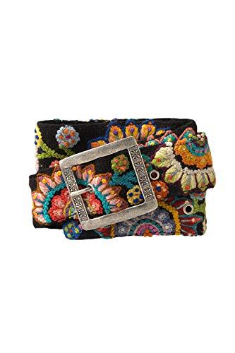 Tey Art Sun Burst Hand Embroidered Fair Trade Wool Belt (S, Black)